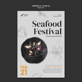 Pionowy plakat restauracji serwującej owoce morza z małżami i makaronem