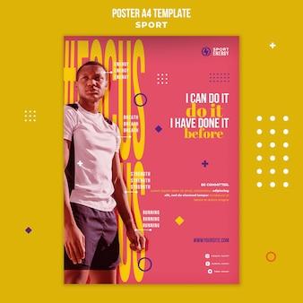Pionowy plakat sportowy z cytatami motywacyjnymi