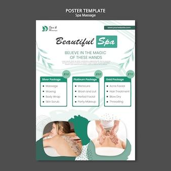Pionowy plakat szablon do masażu spa z kobietą