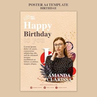 Pionowy plakat szablon na obchody rocznicy urodzin