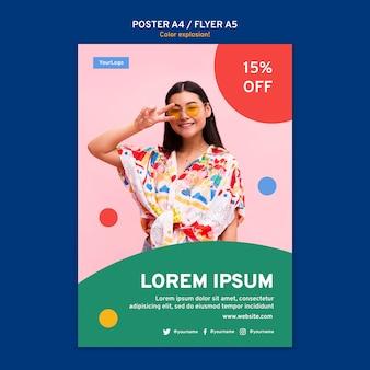 Pionowy plakat z kobietą w okularach przeciwsłonecznych