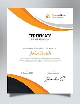Pionowy pomarańczowy i czarny szablon certyfikatu