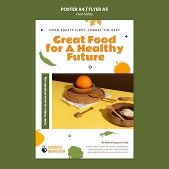 Pionowy szablon druku bezpieczeństwa żywności