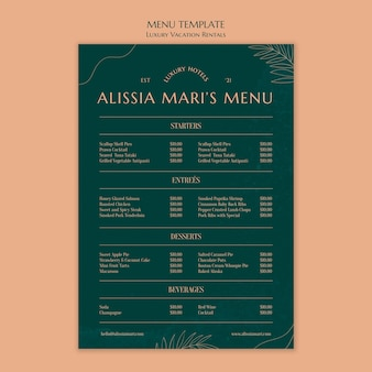 Pionowy szablon menu dla luksusowych wynajmów wakacyjnych