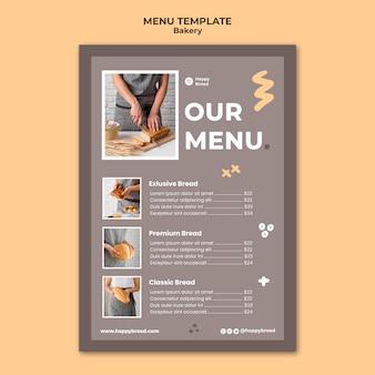 Pionowy szablon menu dla sklepu z chlebem