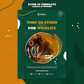 Pionowy szablon nadruku na temat wypoczynku i dzikiej przyrody