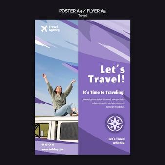 Pionowy szablon plakatu dla biura podróży