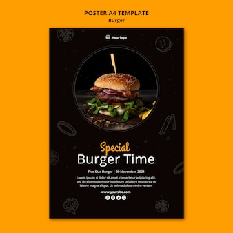 Pionowy szablon plakatu dla burger bistro