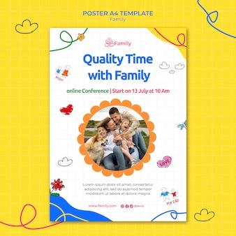 Pionowy szablon plakatu dla dobrej jakości czasu z rodziną