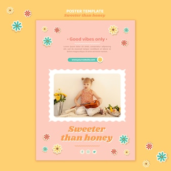 Pionowy szablon plakatu dla dzieci z kwiatami