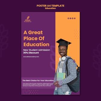 Pionowy szablon plakatu dla edukacji uniwersyteckiej