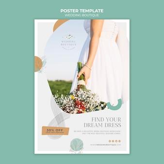 Pionowy szablon plakatu dla eleganckiego butiku ślubnego