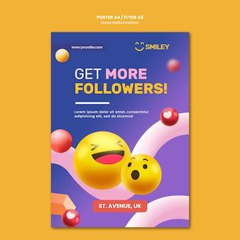 Pionowy szablon plakatu dla emotikonów aplikacji społecznościowych