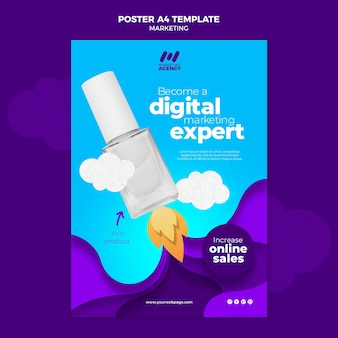 Pionowy szablon plakatu dla firmy marketingowej z produktem
