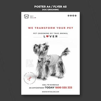 Pionowy szablon plakatu dla firmy zajmującej się pielęgnacją zwierząt