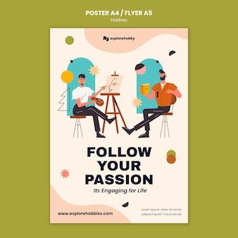 Pionowy szablon plakatu dla hobby i pasji