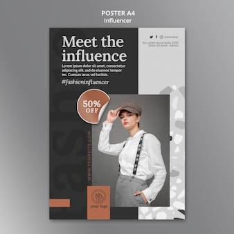 Pionowy szablon plakatu dla influencerki w mediach społecznościowych