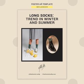 Pionowy szablon plakatu dla influencerów mody w mediach społecznościowych