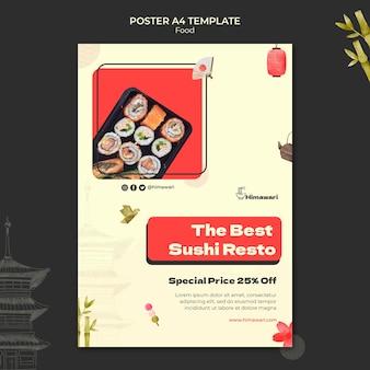 Pionowy szablon plakatu dla japońskiej restauracji z jedzeniem