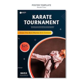 Pionowy szablon plakatu dla kobiet w karate
