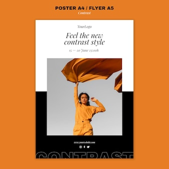 Pionowy szablon plakatu dla kontrastowego stylu