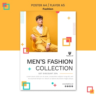Pionowy szablon plakatu dla mody z męskim modelem