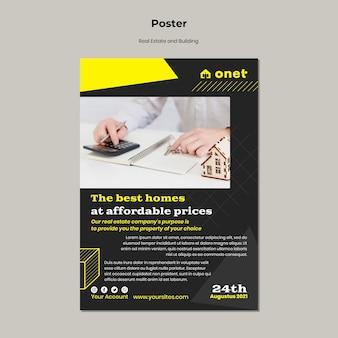 Pionowy szablon plakatu dla nieruchomości i budynków