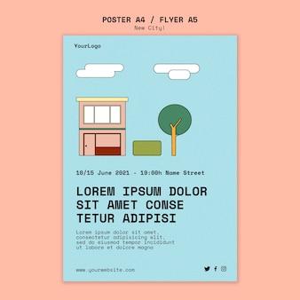 Pionowy szablon plakatu dla nowego miasta z budynkami
