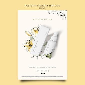 Pionowy szablon plakatu dla produktów kosmetycznych z ręcznie rysowanymi kwiatami