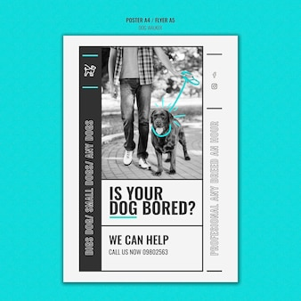 Pionowy szablon plakatu dla profesjonalnej firmy zajmującej się wyprowadzaniem psów