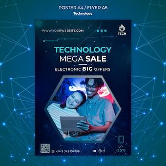 Pionowy szablon plakatu dla sklepu techno
