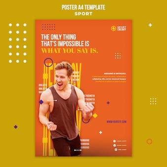 Pionowy szablon plakatu dla sportu z cytatami motywacyjnymi