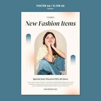 Pionowy szablon plakatu dla stylu mody i odzieży z kobietą