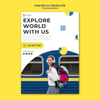 Pionowy szablon plakatu dla transportu publicznego pociągiem z kobietą
