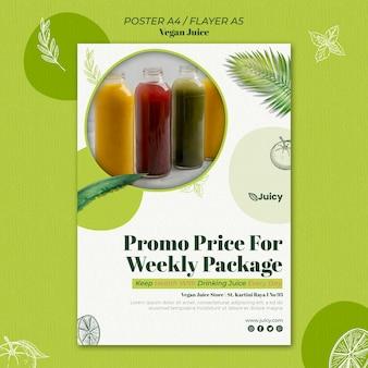 Pionowy szablon plakatu dla wegańskiej firmy dostarczającej sok
