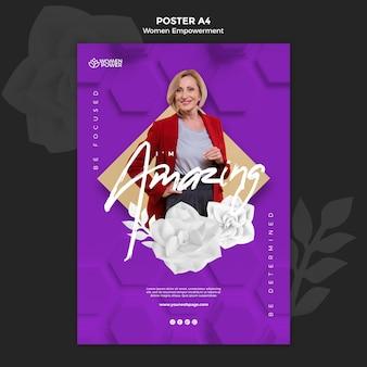Pionowy szablon plakatu dla wzmocnienia pozycji kobiet z zachęcającym słowem