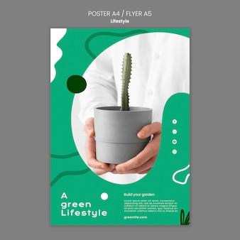 Pionowy szablon plakatu dla zielonego stylu życia z rośliną