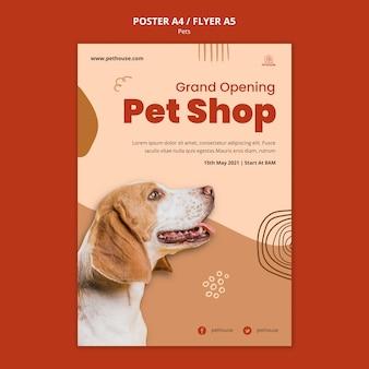 Pionowy szablon plakatu dla zwierząt domowych z uroczym psem