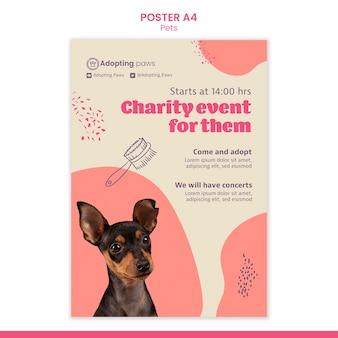 Pionowy szablon plakatu do adopcji zwierzaka z psem