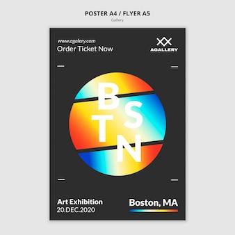 Pionowy szablon plakatu do ekspozycji sztuki współczesnej