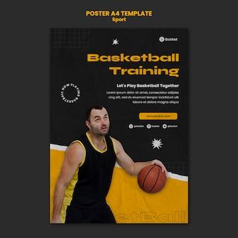 Pionowy szablon plakatu do gry w koszykówkę z męskim graczem