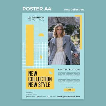 Pionowy szablon plakatu do kolekcji mody z kobietą w przyrodzie