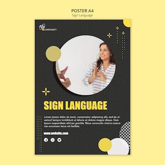 Pionowy szablon plakatu do komunikacji w języku migowym