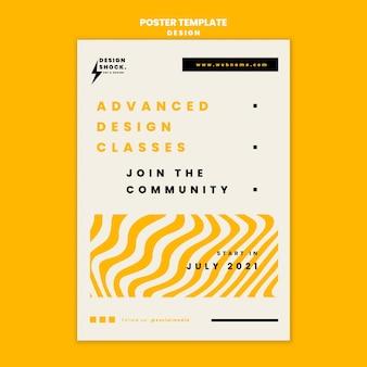 Pionowy szablon plakatu do kursów projektowania graficznego
