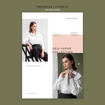 Pionowy szablon plakatu do minimalistycznego sklepu z modą online