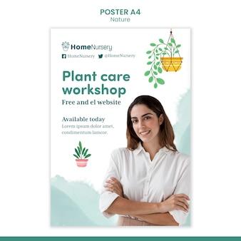 Pionowy szablon plakatu do pielęgnacji roślin doniczkowych z kobietą