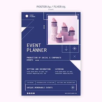 Pionowy szablon plakatu do planowania imprez towarzyskich i firmowych
