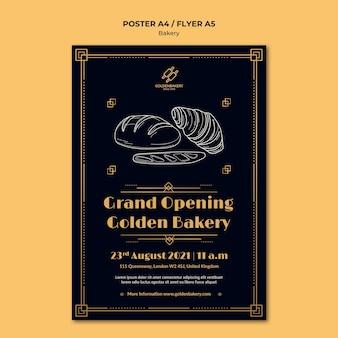 Pionowy szablon plakatu do sklepu piekarniczego z ręcznie rysowaną tablicą