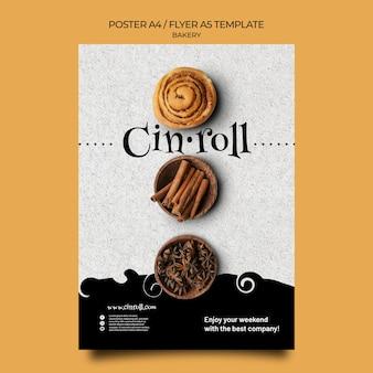 Pionowy szablon plakatu do sklepu piekarniczego