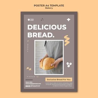 Pionowy szablon plakatu do sklepu z chlebem